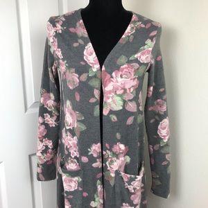 Lularoe Sarah Duster Cardigan Charcoal Pink Roses